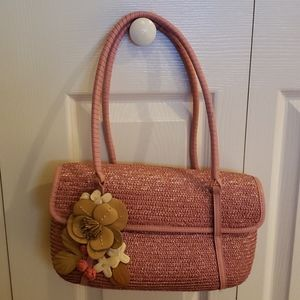 COLE HAAN PINK straw bag  leather flower appliques